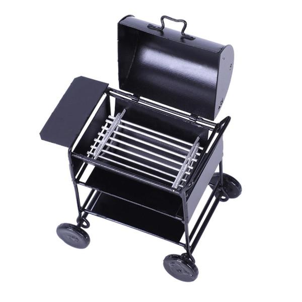 JEYL 1:12 Dollhouse Miniatures Mini Picnic Barbeque BBQ Roasting Oven Metal Kicthenware Accessories Black