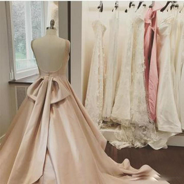 Sweetly Pearl Pink A Line Prom Dresses Sexy Backless Sash Beaded Satin Back Bow Floor LEngth Simple Formal Evening Dresses Custom Made