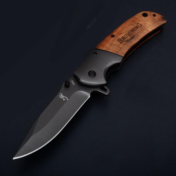 Browning 354 Flipper Pliant couteau de poche 440 Titane Placage Lame Manche En Bois Camping En Plein Air EDC Chasse Randonnée Cadeau Couteaux P610Q R