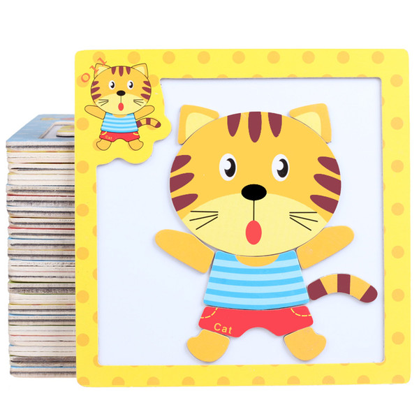 10pcs/lot Hot New Baby 3D Magnetic Puzzle Toy Jigsaw Wooden Toys Cartoon Animals Traffic Puzzles Tangram Kids Educational Toy for Children