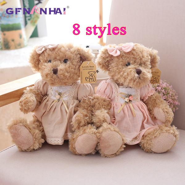 2 Pcs/lot 26cm Lovely Couple Teddy Bear With Cloth Plush Toys Dolls Stuffed Toy Kids Baby Children Girl Birthday Christmas Gift J190717