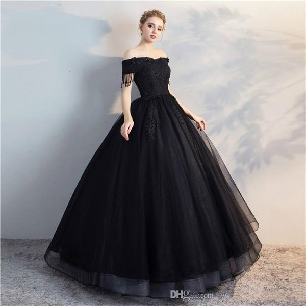 Vestido de Noiva Black Appliques Lace Princess Prom Dresses Offer The Shoulder Ball Gown Bridal Dress