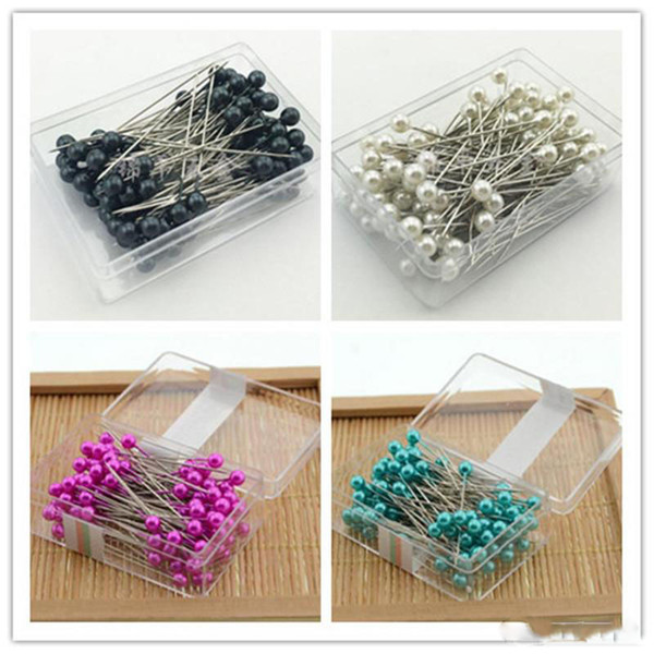 New Crafts 100 pcs/box Round Pearl Head Dressmaking Pins Weddings Corsage Florists Sewing Pin with box accessories tools