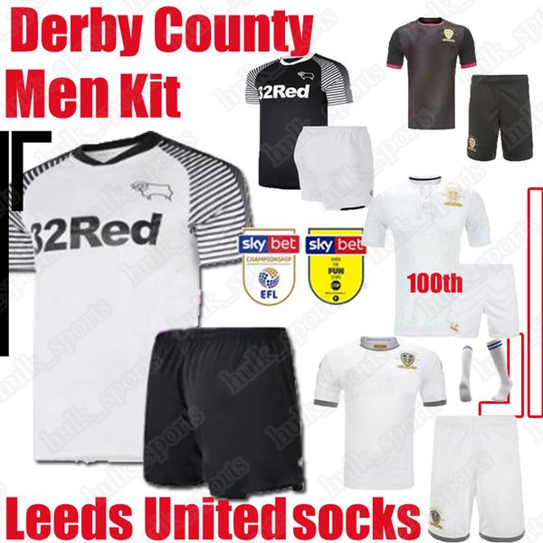 top popular NEW 2019 2020 Derby County Soccer Sets PATERSON LAWRENCE DOWELL 19 20 Leeds United 100th anniversary soccer men kit COSTfootball uniforms 2020