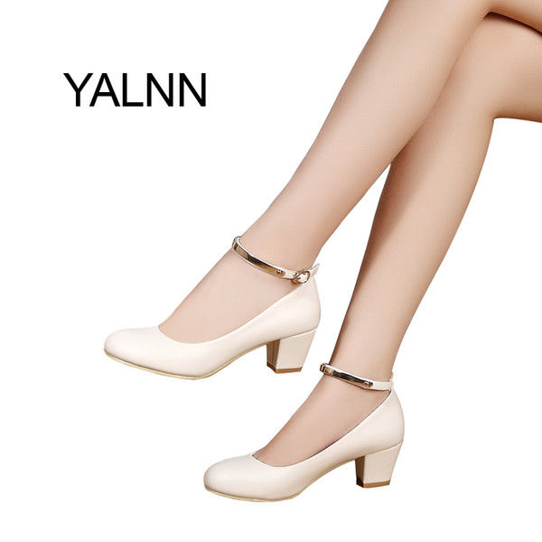 Shoes YALNN New Women's Buckle High Heels Women Pumps Sexy Bride Party Thick Heel Pointed Toe High Heel for Girls