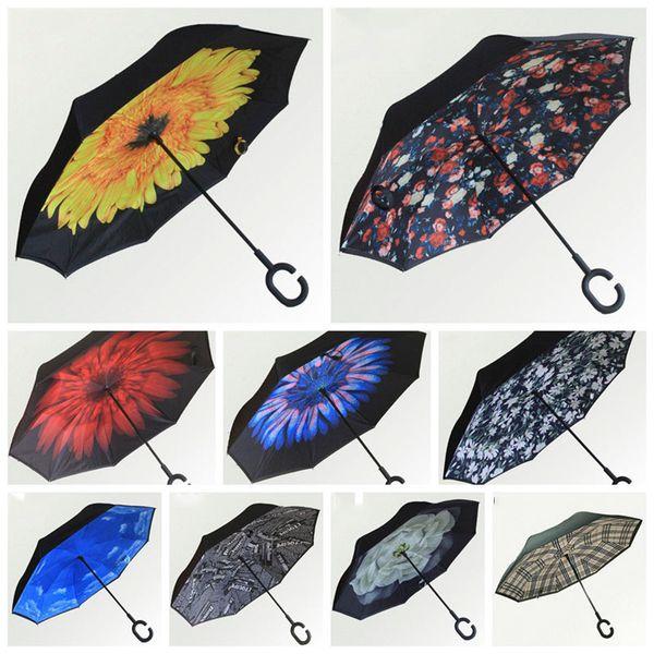 Ombrello a 8 ossa antivento di alta qualità Ombrelli invertiti C Ombrello inverso pieghevole a manico lungo Protezione UV Sunny Rainy Beach