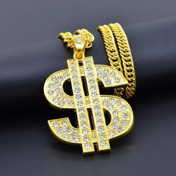 Collana del progettista del segno del dollaro Collana da uomo di lusso con strass Collana da uomo unica Gioielli hip-hop Esagerato Link cubano Vendita calda