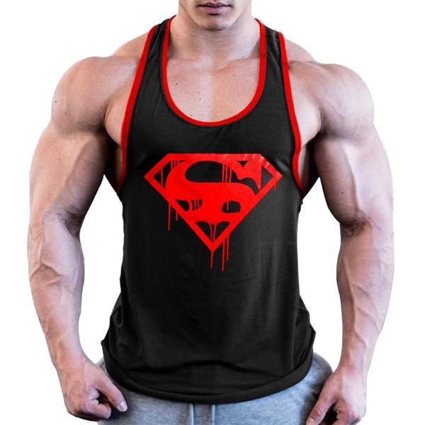 OA Uomini Blood Superman Bodybuilding Stringer Gyms Canotta Fitness Canotta in cotone senza maniche Canotta muscolare # 208359