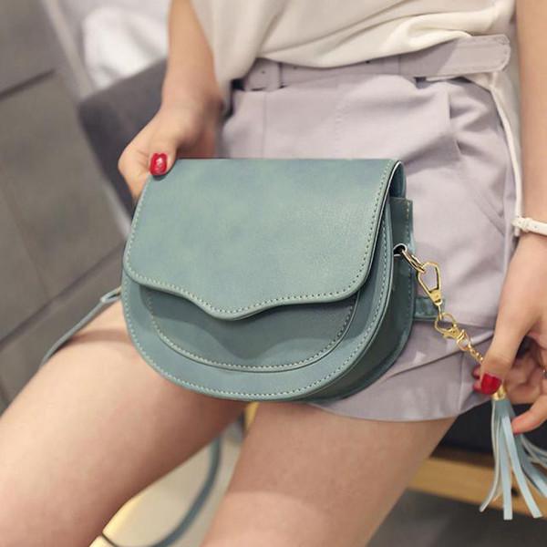 Bolso de hombro con borla para mujer de moda europea y americana para mujer bolso de cuero de pu simple mini bolso cuadrado para mujer bolso de mensajero