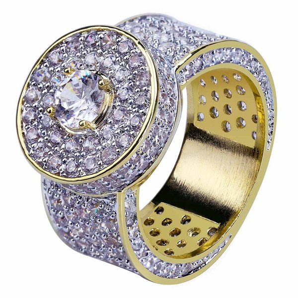 mens ring vintage hip hop jewelry white Zircon iced out copper luxurious rings luxury gold Business type fashion Jewelry -P