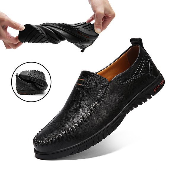 Genuine Leather Men Casual Shoes Luxury Designer Mens Loafers Moccasins Breathable Slip on Driving Shoes Plus Size 38-47