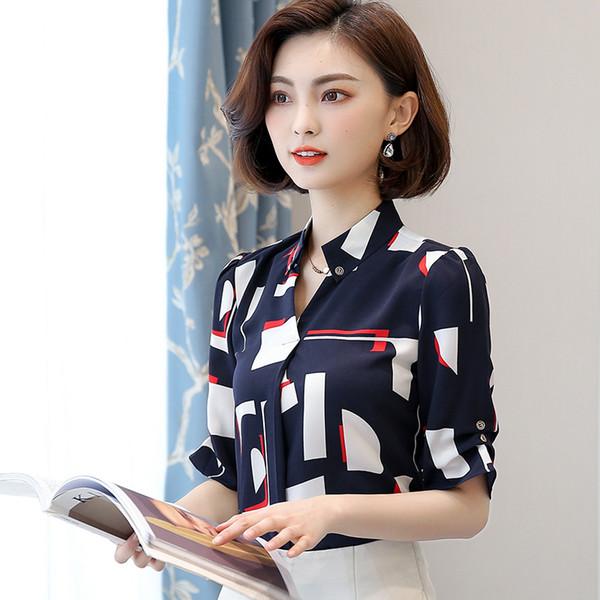 Рубашка шифоновая с коротким рукавом женская новая рубашка из пяти точек Тонкая рубашка с принтом
