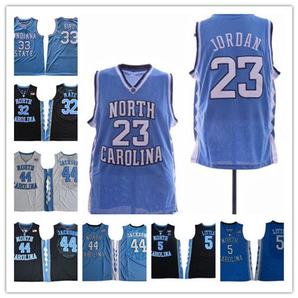 Erkek NCAA 23 Michael Kuzey Carolina Tar Topuklu kolej Forması Basketbol Formaları Dikişli açık mavi beyaz jersey