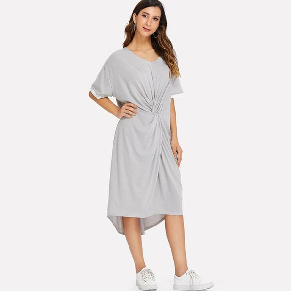 2019 short after long before the summer is hot style ladies knot irregular hem pure color dress