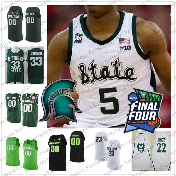 Custom Michigan State Spartans 2019 Final Four College Basketball Jersey Any Name Number 5 Cassius Winston 20 Matt McQuaid MSU S-4XL