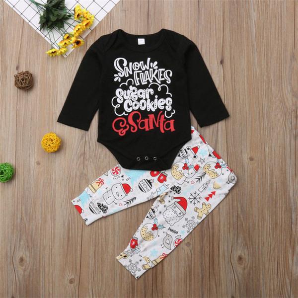 Noel bebek çocuk giysileri Kıyafetler noel Uzun kollu baskılı mektup tulumlar tops + Karikatür karakterler pantolon iki adet set MJY660