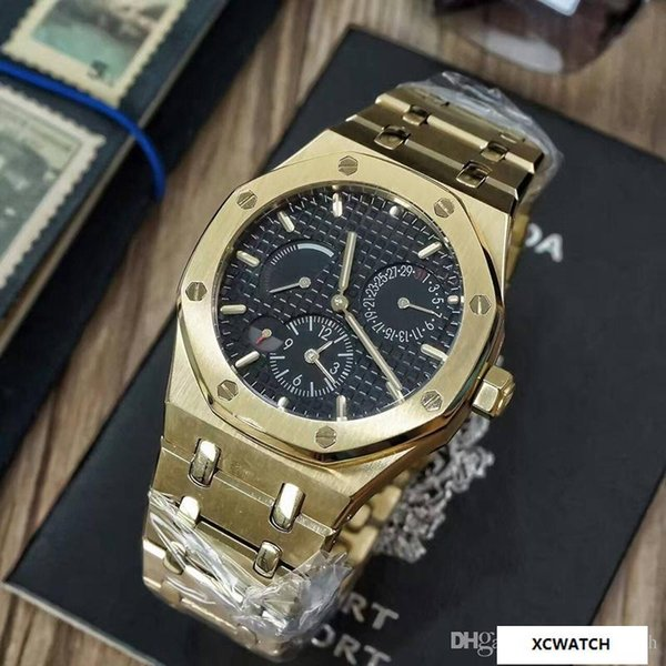Fashion luxury men's watch. With imported manual storage mechanical movement. Diameter 43mm mineral glass mirror 316 stainless steel gold wa