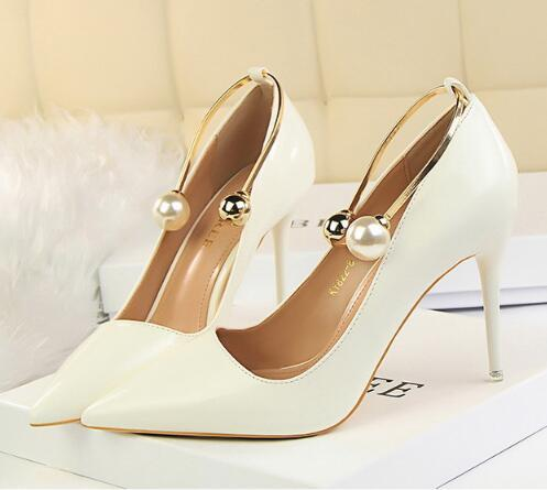 Spring Summer Women Pumps Sweet Pearl High-heeled Shoes Thin Pink High Heels Wedding Dress Shoes Hollow Pointed Stiletto Elegant 6 Colour
