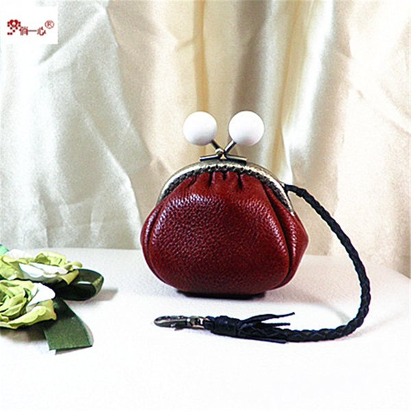 Hand-made genuine leather purse with pearl clasp, gold pocket, small change purse, hard cover key bag gift