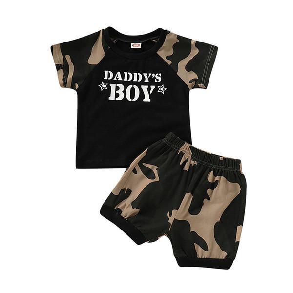 Criança Menino Roupas De Verão 2019 Crianças Meninos Roupas Definir Moda Carta T-shirt Camuflagem Shorts 2 PCS Bebê Meninos Roupas Crianças Roupas