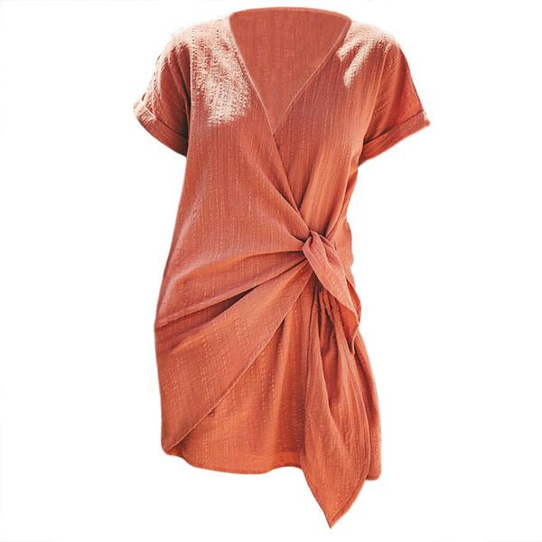 2019 Europe and America Vintage Summer New Mid Waist Bandage Dress Women Cotton Short Sleeve V-Neck Black Dresses