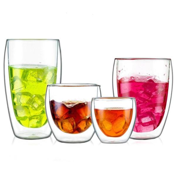 Creative Drinkware Mugs Heat Resistant Double Wall Glass Mug Transparent Tea Cups Coffee Milk Juice Healthy Drink Mug