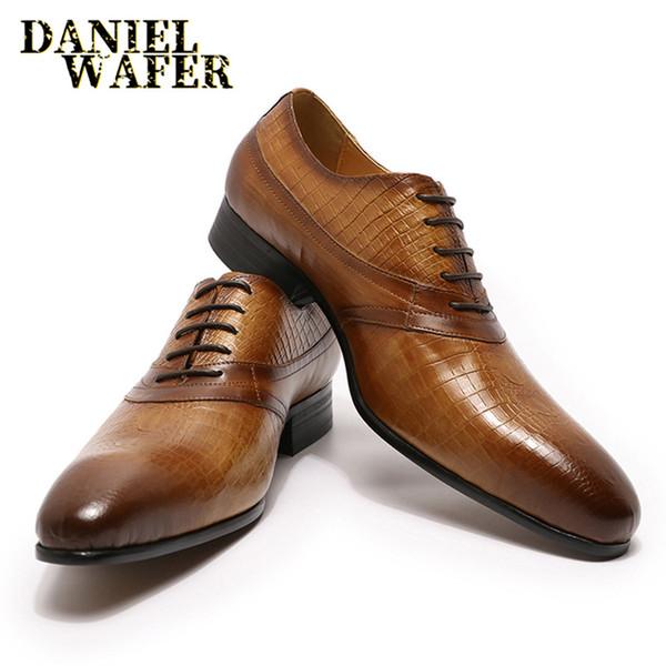 Luxe fait main Chaussures en cuir Oxford Fashion peau de crocodile Imprimé lacent Brun Noir Bureau de mariage Chaussures Hommes formelles en cuir