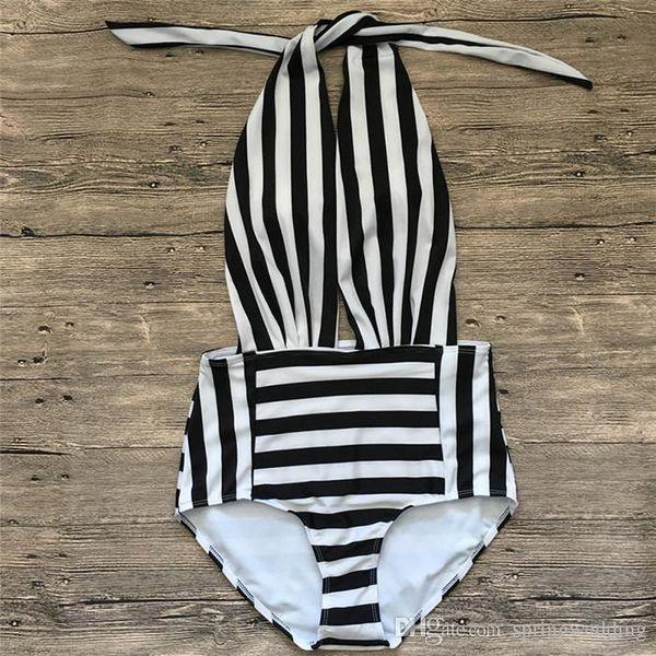 Nice Stripe Black One-piece Swimsuit Deep V Neck Summer Sexy Backless Bikini Set Ladies Beach Bathing Suit Swimwear SO0552