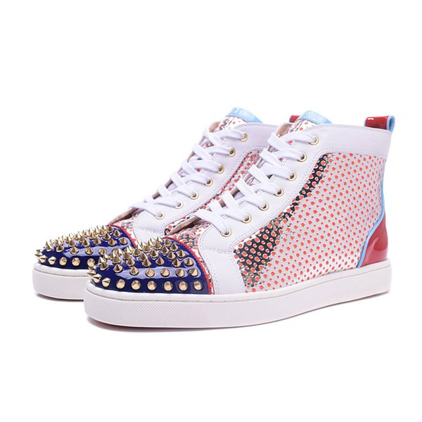 2019 New Designer Red Bottoms Casual Shoes Slip-on Roller Boat Mens Women Suede Spike Crystal Leather Sport Sneakers BOX DUST BAG 36-47