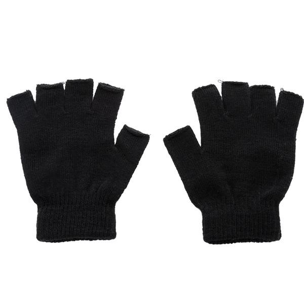1 Pair Winter Outdoor Black Knitted Fingerless Gloves Men Knitted Stretch Elastic Warm Half Finger Gloves Autumn Winter Fashion