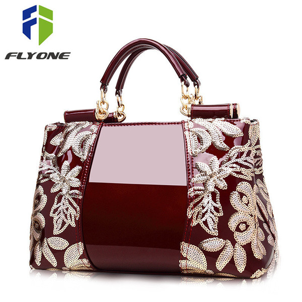 Flyone women bags High-end counters genuine leather patent leather handbags women's handbags shoulder bags luxury famous brand