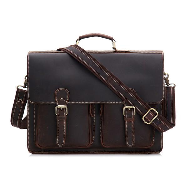 Nesitu Vintage Thick Crazy Horse Leather Portfolio Men Briefcase Messenger Bags 14'' Laptop Shoulder Bag Men's Office Bags M9006