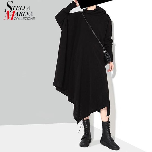 New 2018 Korean Style Women Winter Black Gray Knitted Sweater Dress Long Sleeve Plus Size Stretchy Girls Asymmetrical Dress 1803 Y19012201