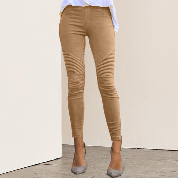 Gryffon 2019 Mujeres Jeans Leggings de rayas de impresión Legging mujeres imitación Jean delgados Fitness Elastic Jeans Seamless