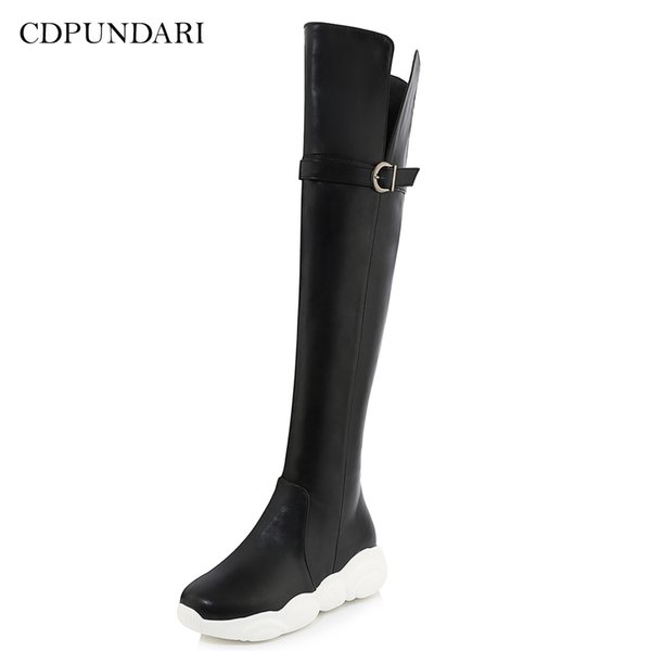 CDPUNDARI Black White Over the knee boots women thigh high boots Ladies Winter Platform snow shoes woman