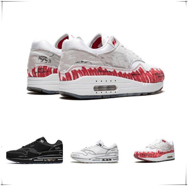 New 1s Sketch Men Women Manuscript Running Shoes To Shelf Casual Comfortable Jogging Shoes Signature White Black Red Designer Sport Sneaker