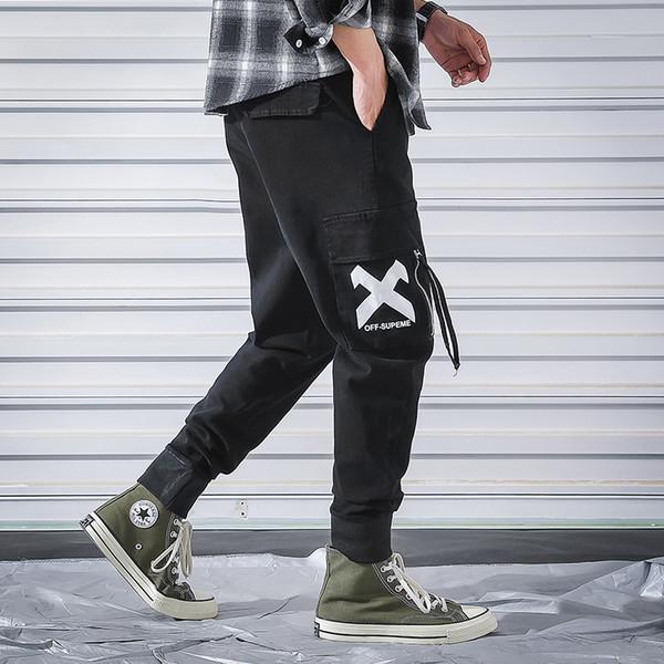 Männer Vintage Cargo Pants Herren Hiphop schwarze Taschen Jogger Hosen Männliche Korean Fashion Sweatpants 2019 Frühling Herbst Overalls