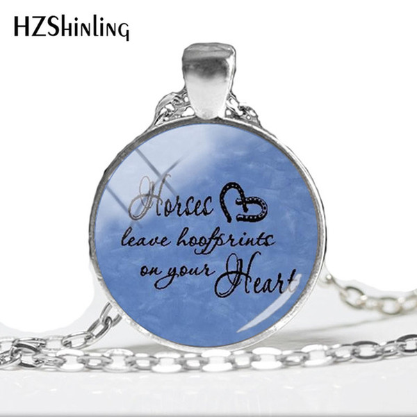 2019 NEW Keep Calm And Love Horses Glass Dome Photo Pendant Necklace White Horses Art Printed Photo Pendant HZ1