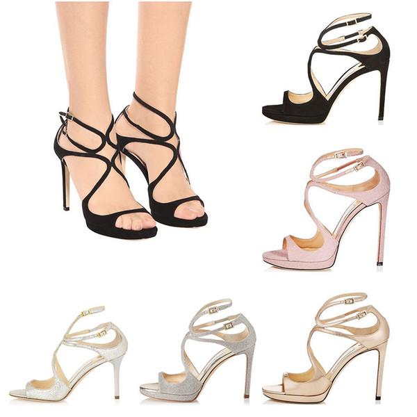 Kadın Tasarımcı Sandalet Açık ağızlı Yani Kate Stilleri Moda kız yüksek topuklu 10 CM 12 CM LANCE siyah pembe beyaz Gümüş Deri boyutu 35-42