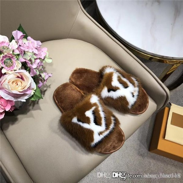 Limited edition full mink hair home and hotel slippers Latest Light and comfortable soles Womens Soft warm Fur Leather slippers size 35-42