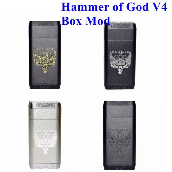 New Hammer of God V4 Box Mod Square Aluminum Body fit 20700 21700 Battery 510 Atomizers Vaporizer Hammer of God 4 Mod DHL Free