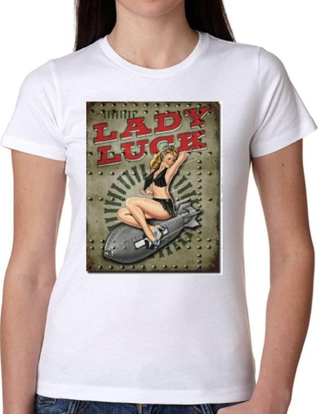 Tshirt Jode Girl GGG22 Z1800 LADY LUCK VINTAGE BOMB AMERICA PIN UP FUN FASHION Hommes Femmes Unisexe Mode tshirt Livraison Gratuite Funny Cool