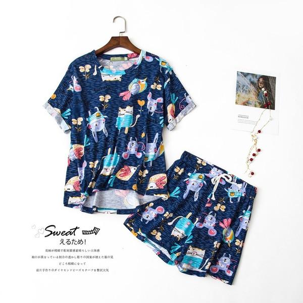 Pijamas de algodão Mulheres Multi Estilos de Verão Dos Desenhos Animados Gato Coelho Pássaro 2 Peças Conjunto de Manga Curta Cintura Elástica Sleepwear Salão S84694 Y19071901