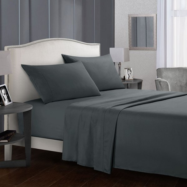 Pure Color Bedding Set Bed Linens Flat Sheet+Fitted Sheet+Pillowcase Queen/ King Size Gray Soft comfortable white Bed set