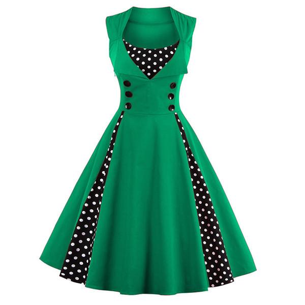 Женщины 5xl 50-х годов 60-х годов ретро винтажное платье в горошек без рукавов весна-лето красное платье рокабилли свинг вечернее платье