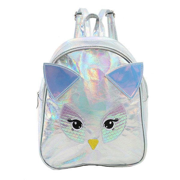Miyahouse PU Leather Women Backpack Patchwork Laser Owl Design Ladies Rucksack Cartoon Mini Travel Bag With Ear For Teenage Girl