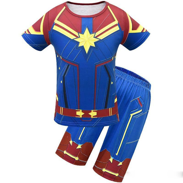 New Avengers Alliance 4 Captain Marvel Boys Shazam Costume Kids Superman Cosplay Superhero Party Cosplay t-shirt+short pant summer set C32