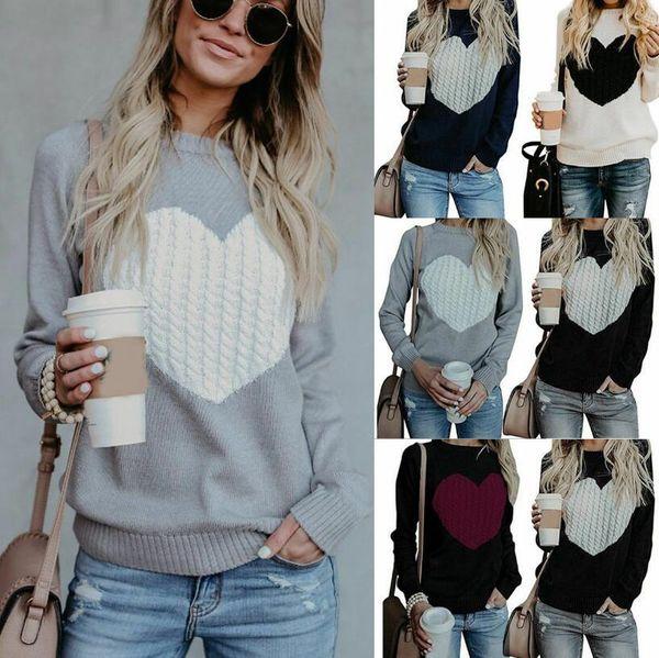top popular Women Heart Knitted Sweater Printed Long Sleeve O Neck Loose Jumper Knitwear Tops Outwear Girls Pullover LJJO6263 2021