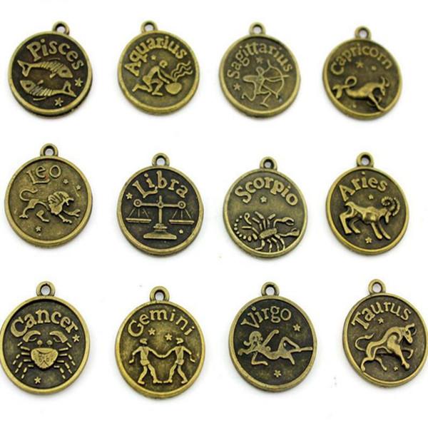 Bronzo antico 12 Constellation Metallo Segno zodiacale Ciondolo Leone / Ariete / Toro / Gemini / Cancro / Vergine / Pesci Charms Per Monili Delle Donne