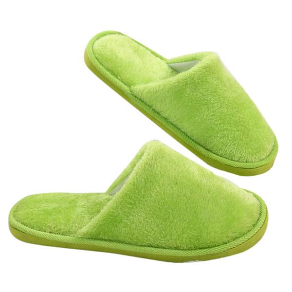 WENYUJH Şeker Renk Sıcak Ev Terlik Kadın Yatak Odası Kış Terlik Kapalı Pamuk Kat Ev Peluş Ayakkabı Kaymaz